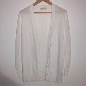 Tory Burch White Cardigan Sweater - Size Small